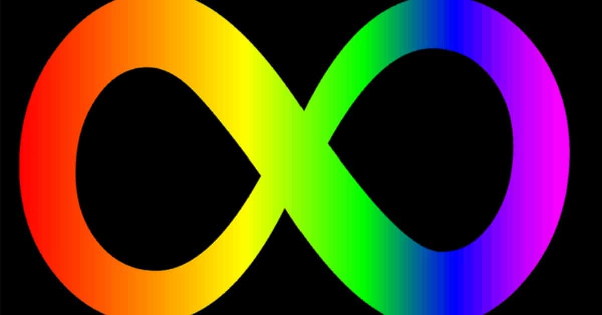 Rainbow infinity symbol on a black background
