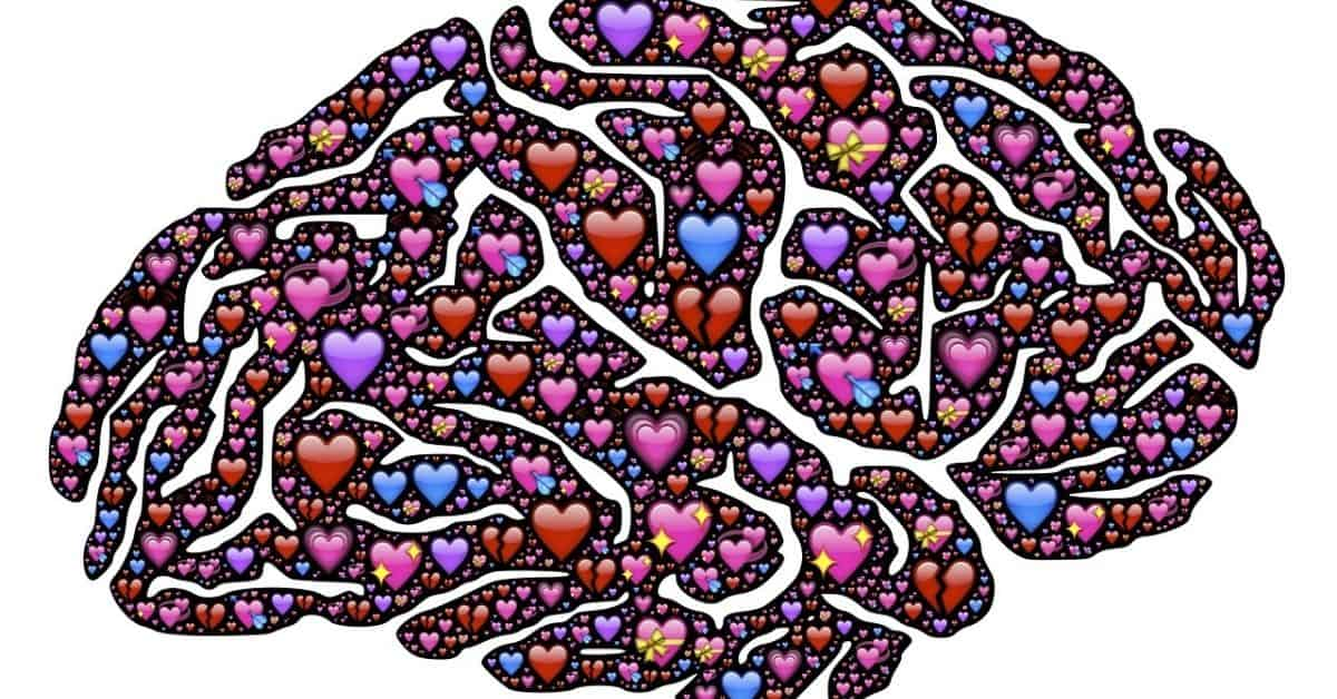 An image of a brain filled with multicolored hearts of varying sizes.