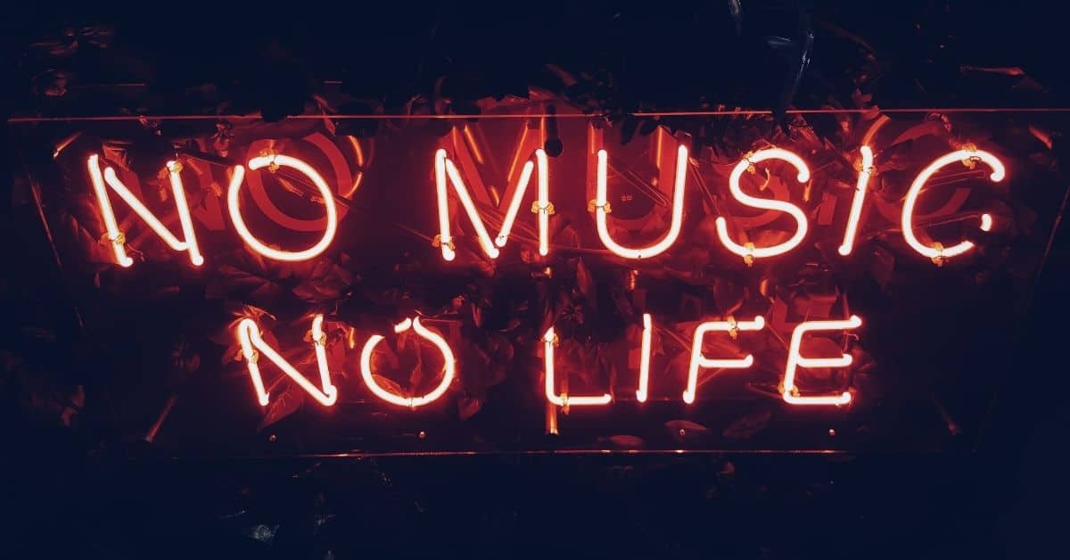 "Red neon sign spelling out ""No Music No Life"""