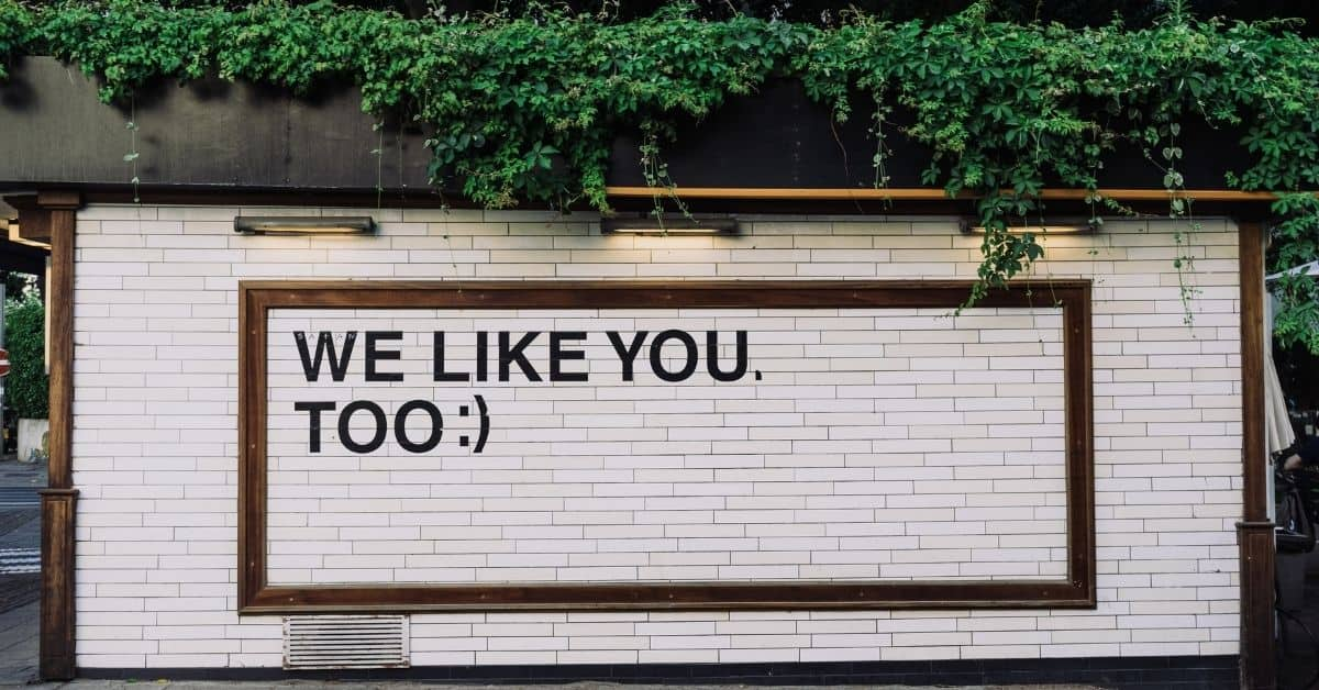 "A white brick wall topped with ivy. A billboard on the wall reads ""We like you, too"" with a smiley emoticon."