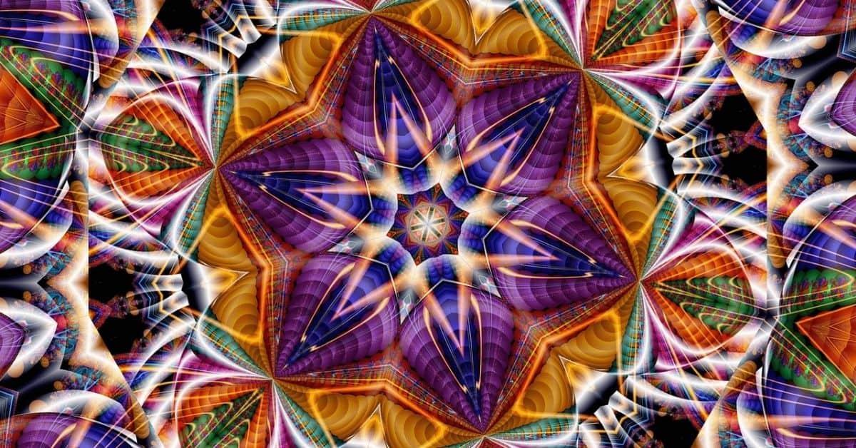 A multicolored kaleidoscope image