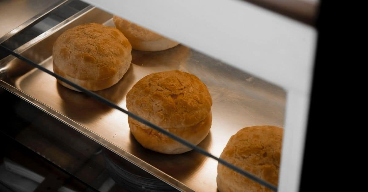 Rolls baking in an oven
