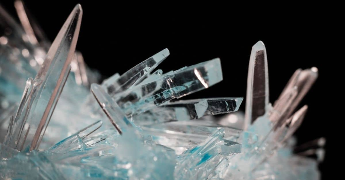 A cluster of bluish clear crystals